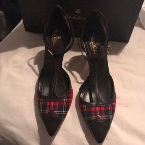 Brooks Brothers Red Plaid t-strap heels size 8